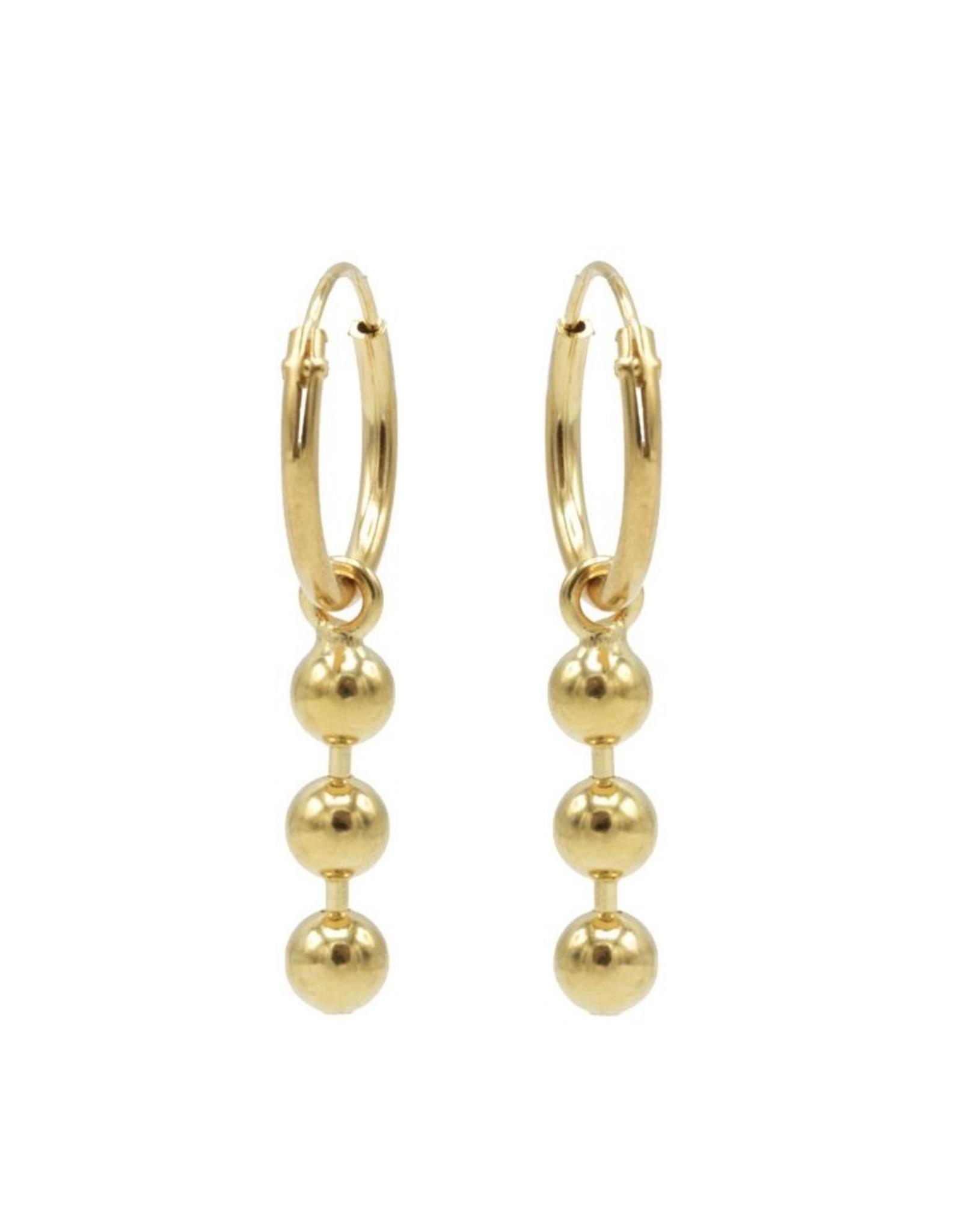 Karma Hoops Symbols Triple Chain Ball Goldplated Set