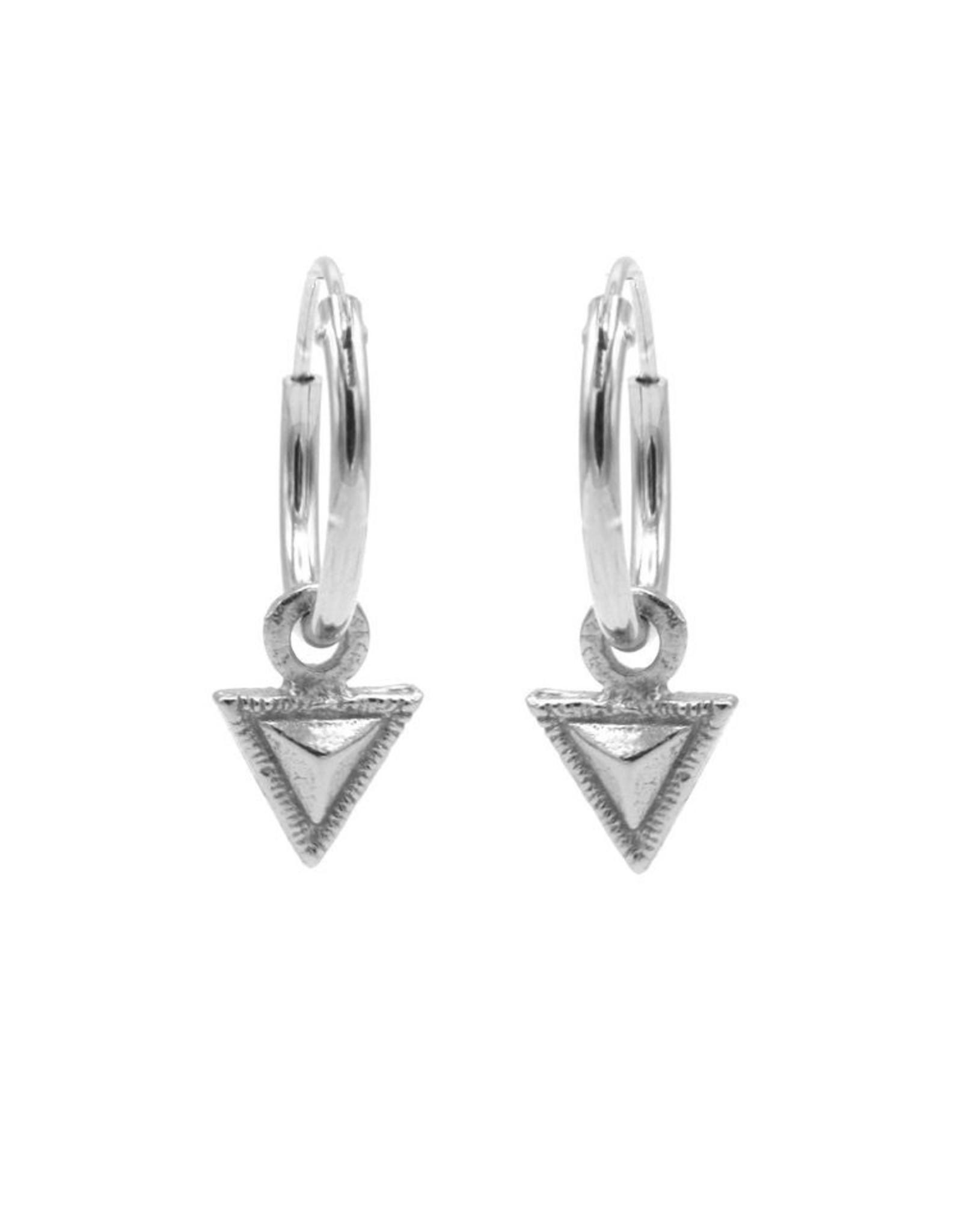 Karma Hoops Symbols Tiny Triangle  Silver Set