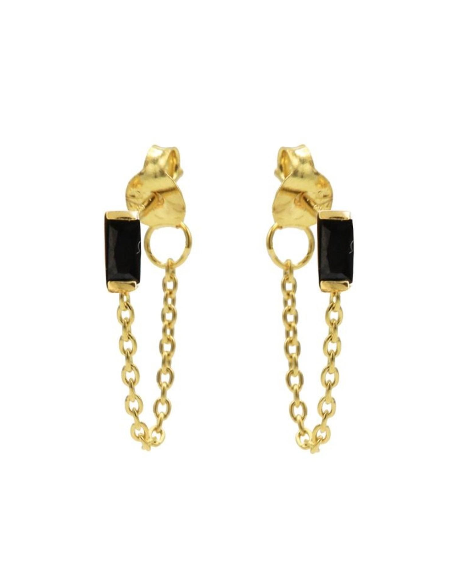 Karma Chain Black Zirconia Single Square Goldplated Set