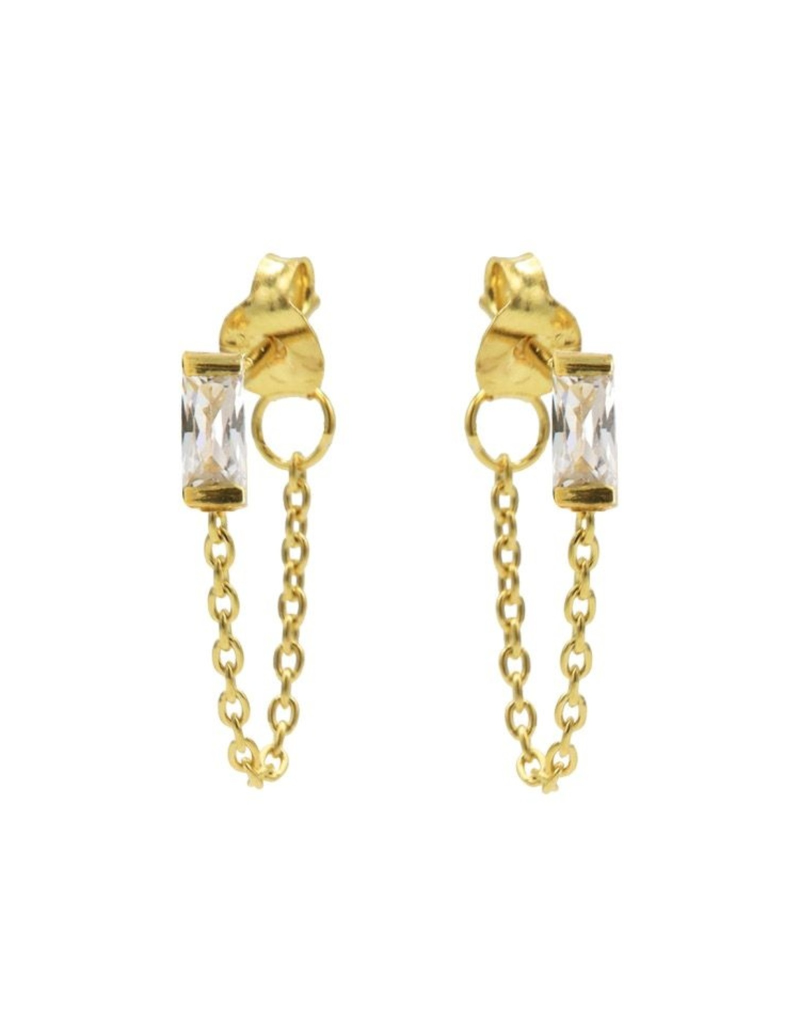 Karma Chain Zirconia Single Square Goldplated Set