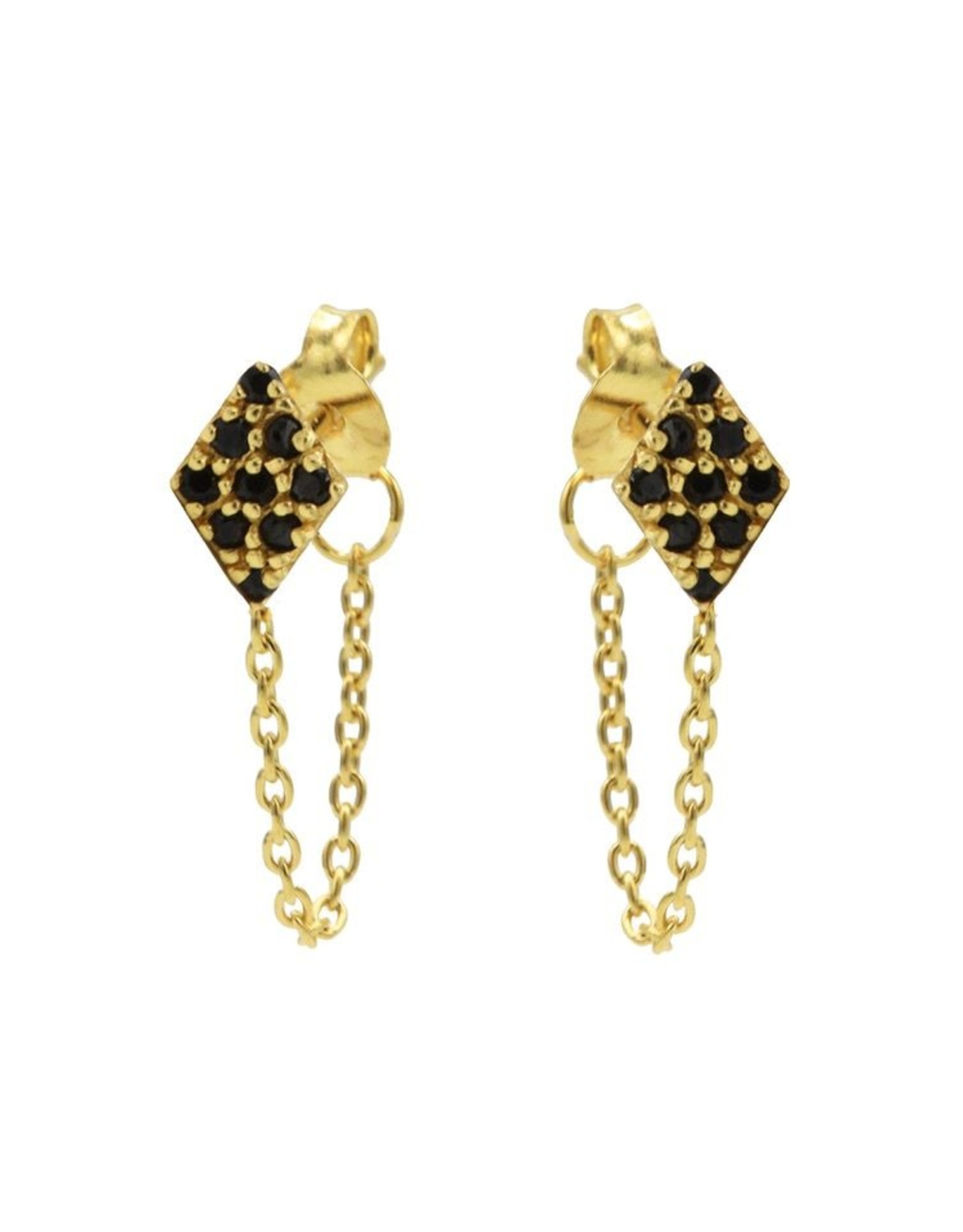 Karma Chain Black Zirconia Diamond Goldplated Set