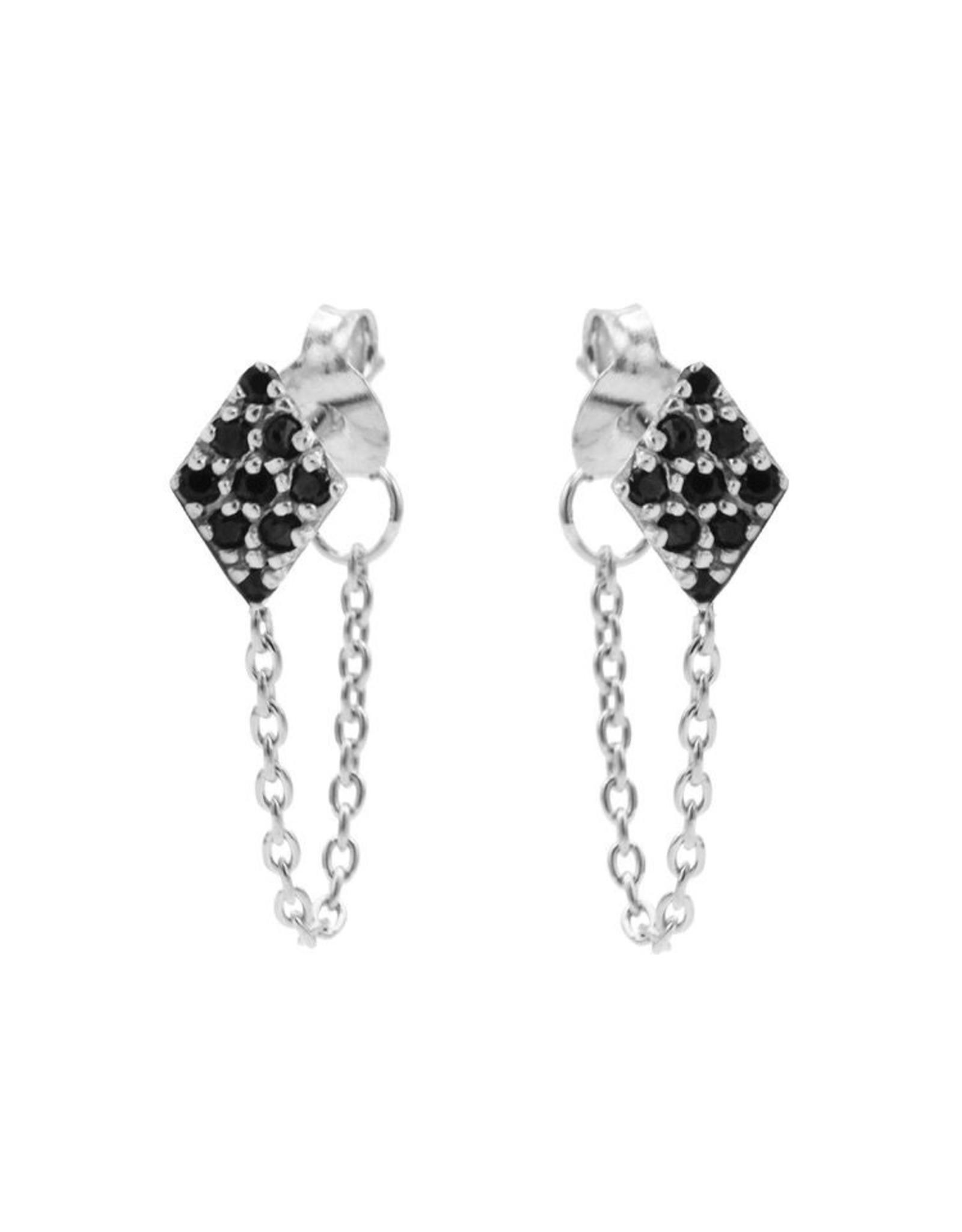 Karma Chain Black Zirconia Diamond Silver Set