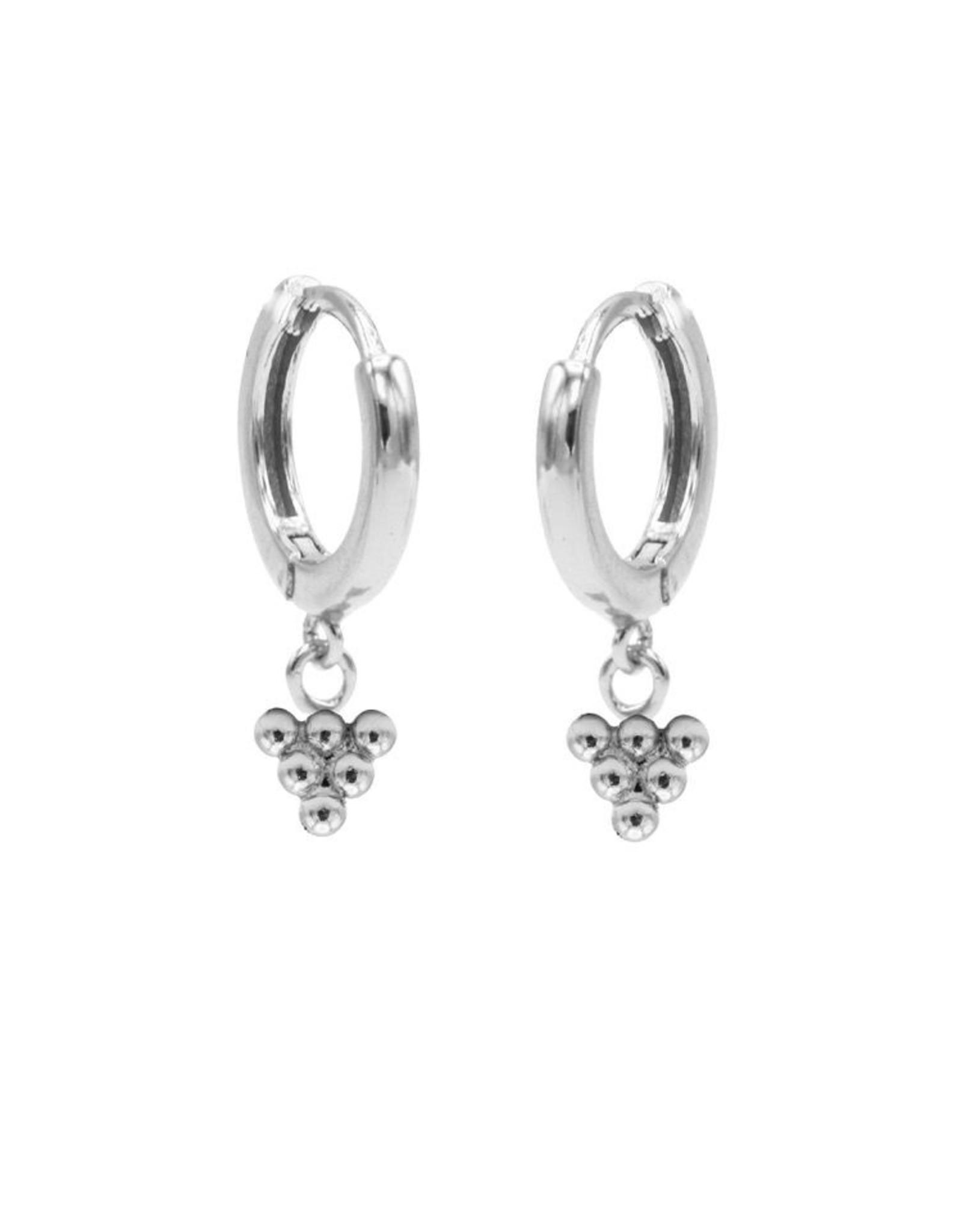 Karma Hinged Hoops Symbols 6 Dots Silver Set