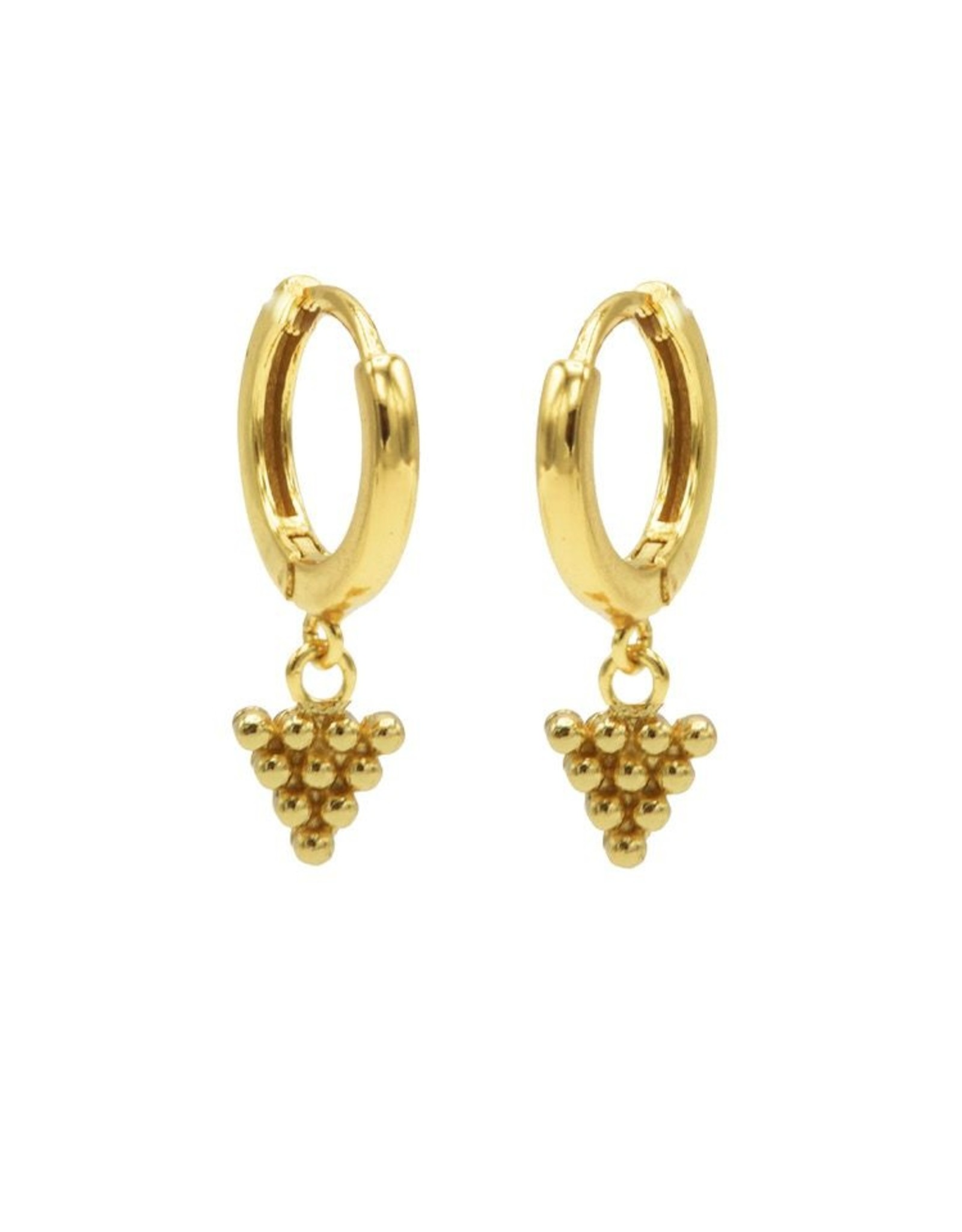 Karma Hinged Hoops Symbols Dots Triangle Goldplated Set
