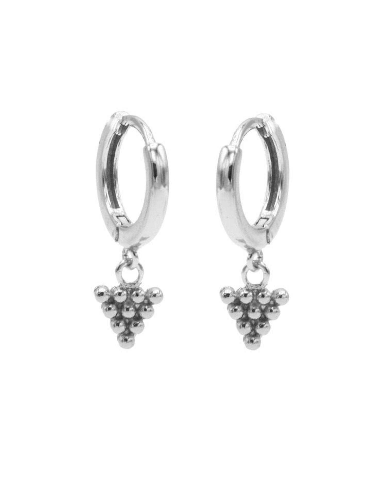 Karma Hinged Hoops Symbols Dots Triangle Silver Set