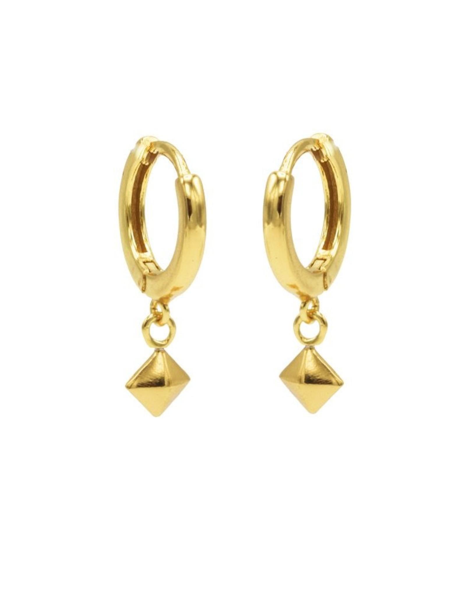Karma Hinged Hoops Symbols Stud Goldplated Set