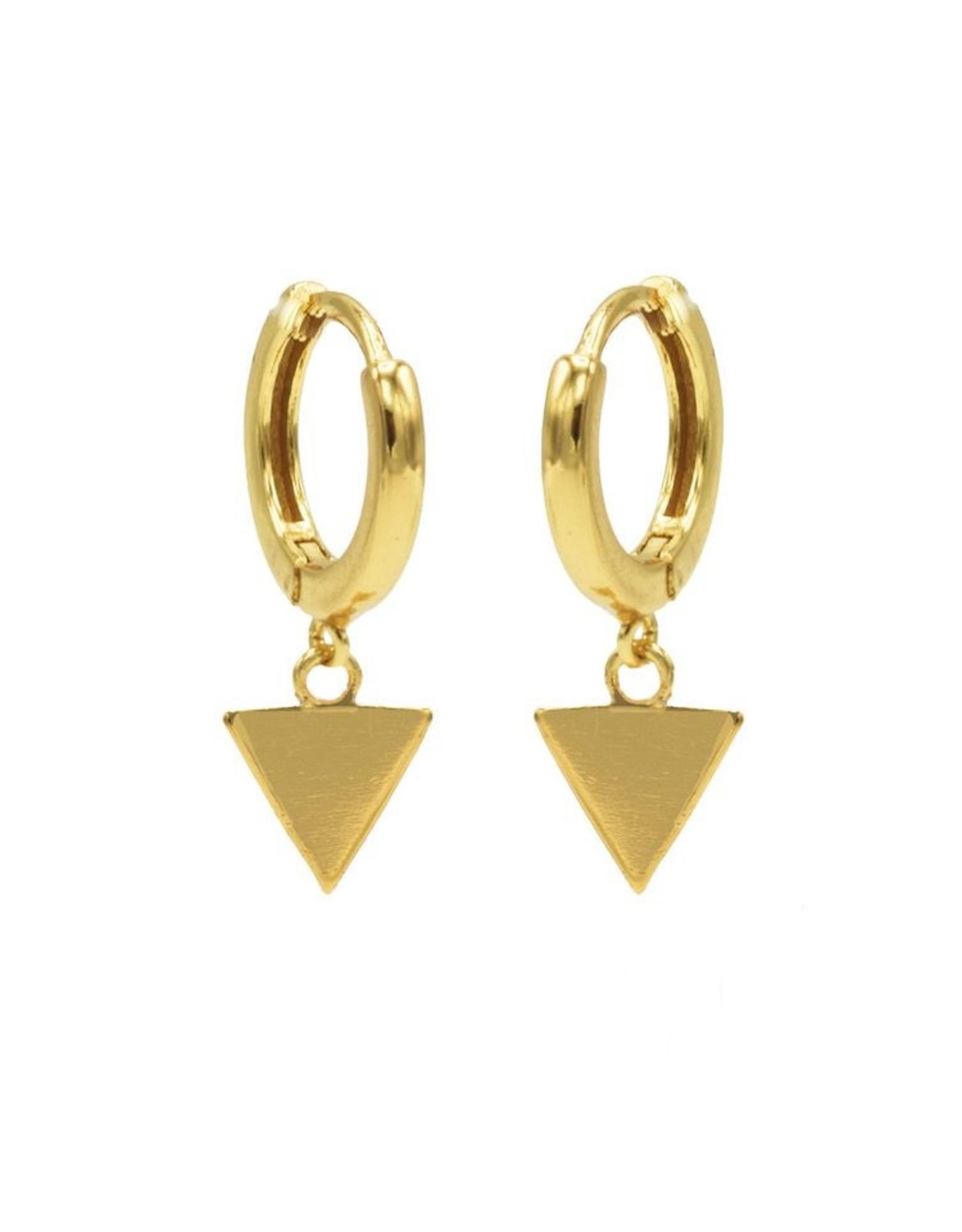 Karma Hinged Hoops Symbols Triangle Goldplated Set