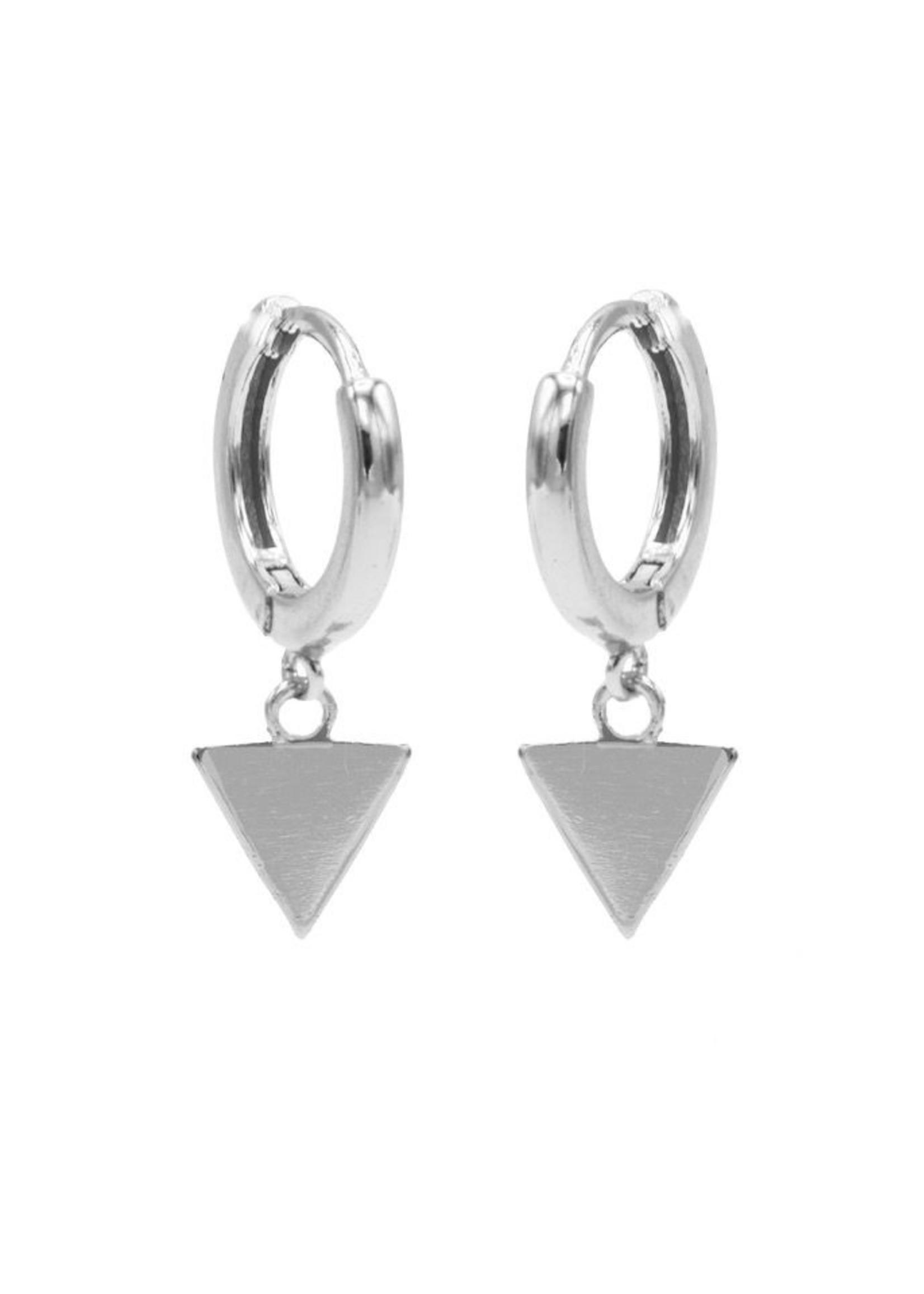 Karma Hinged Hoops Symbols Triangle Silver