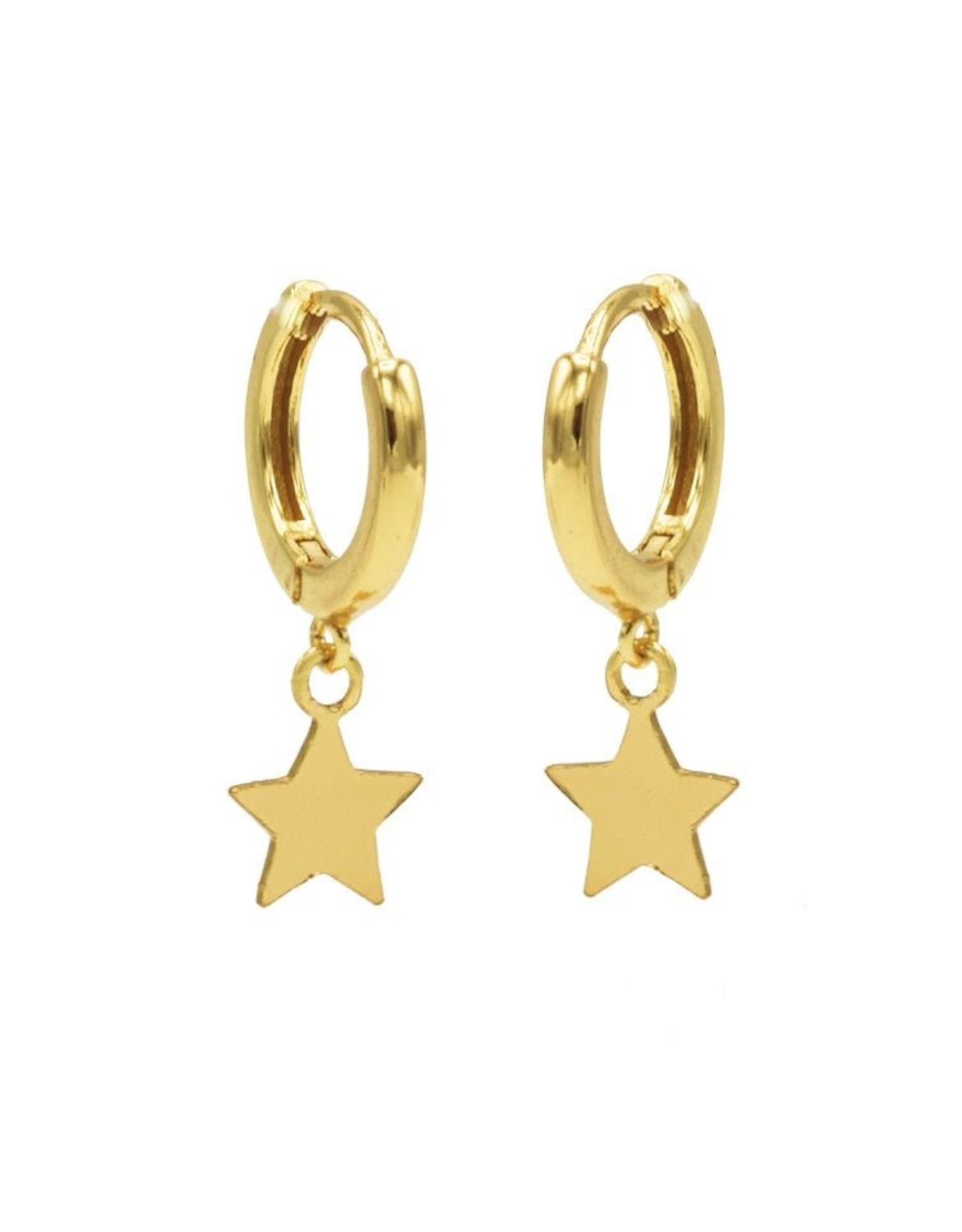 Karma Hinged Hoops Symbols Star Goldplated Set