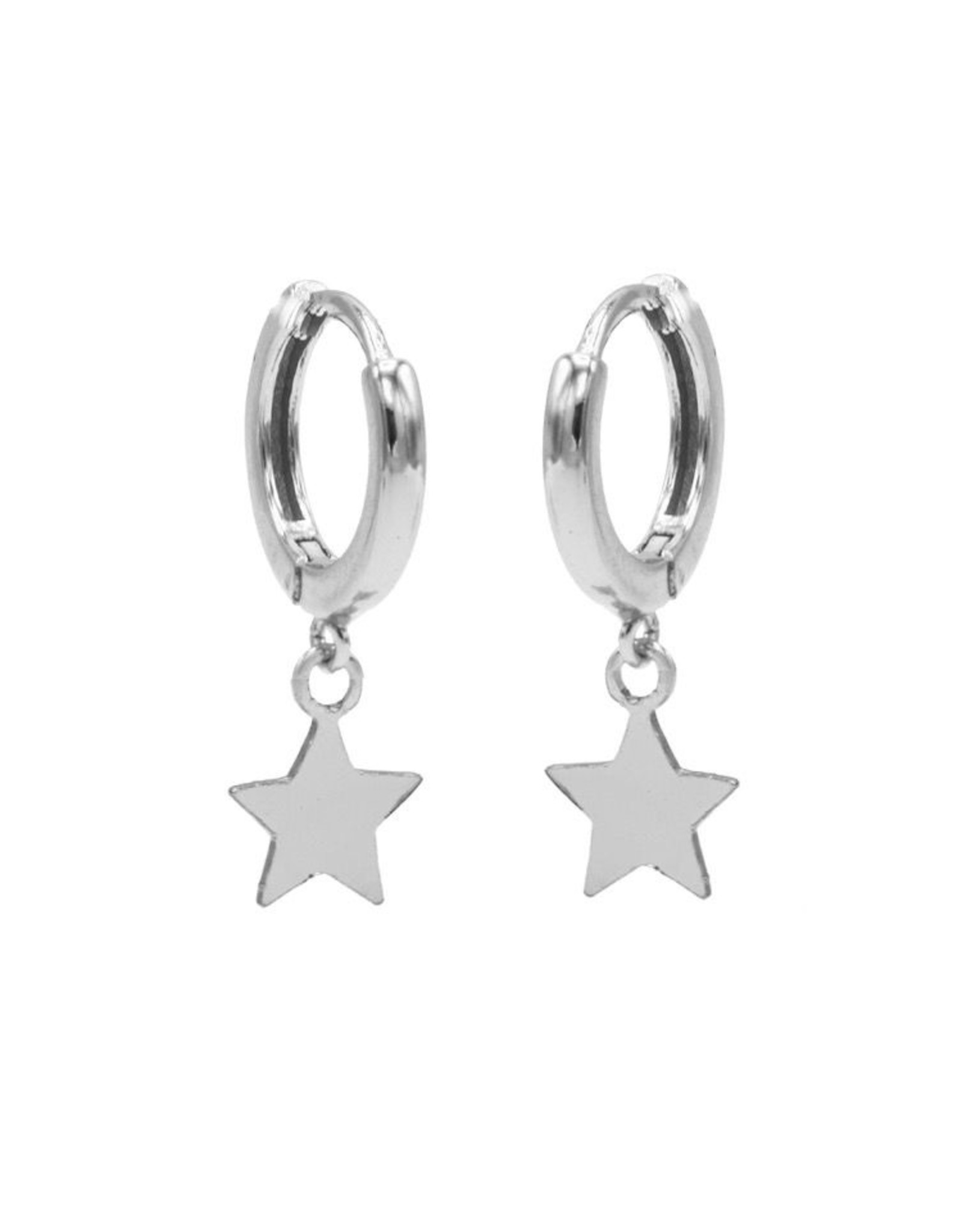 Karma Hinged Hoops Symbols Star Silver Set
