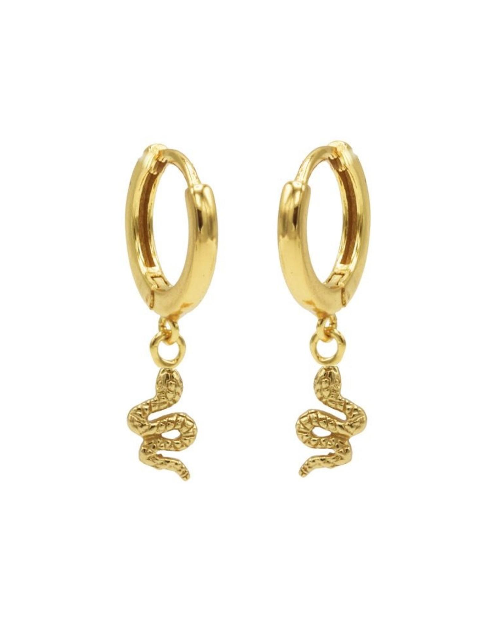 Karma Hinged Hoops Symbols Snake Goldplated Set