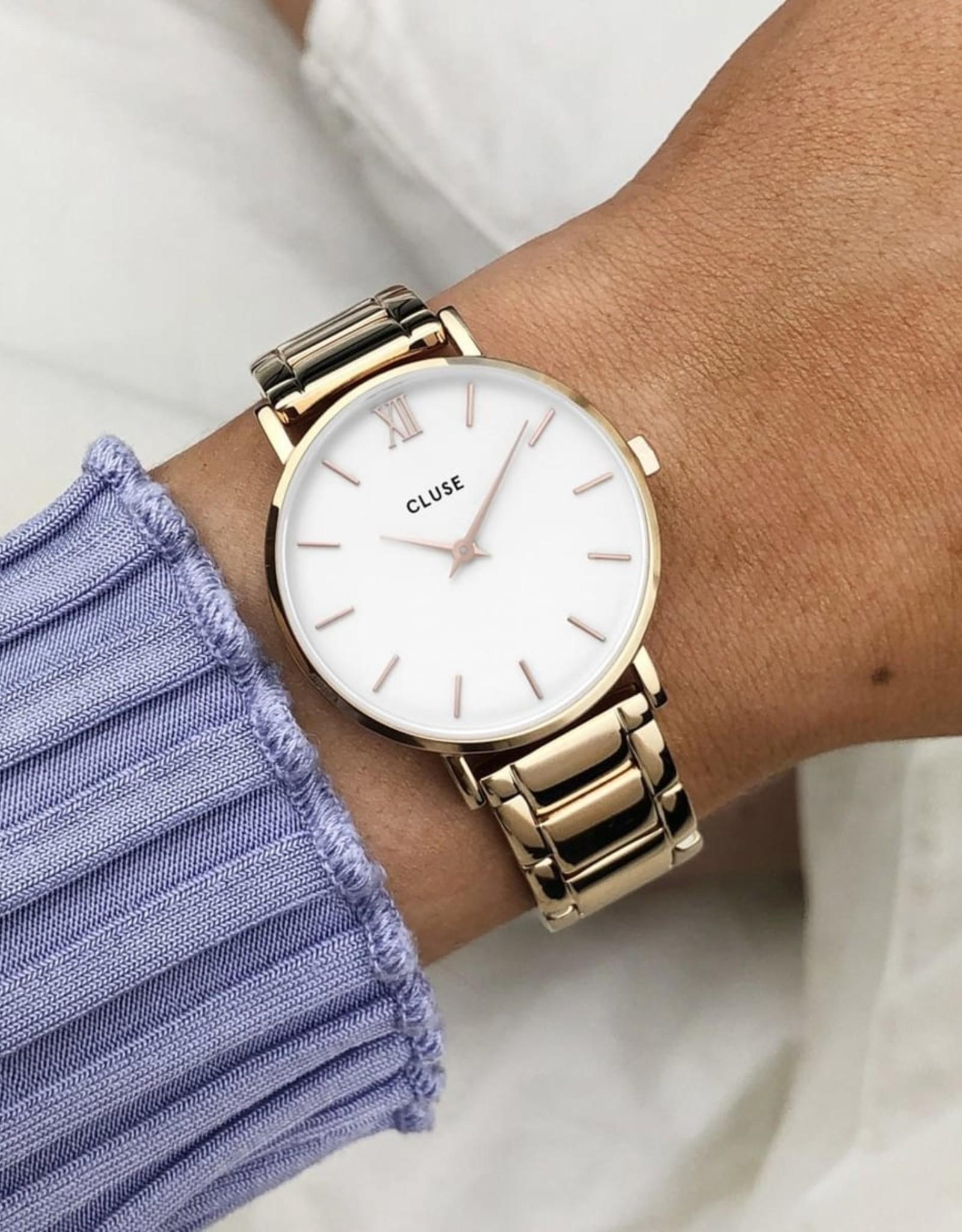 Cluse Minuit Steel White, Rose Gold Colour