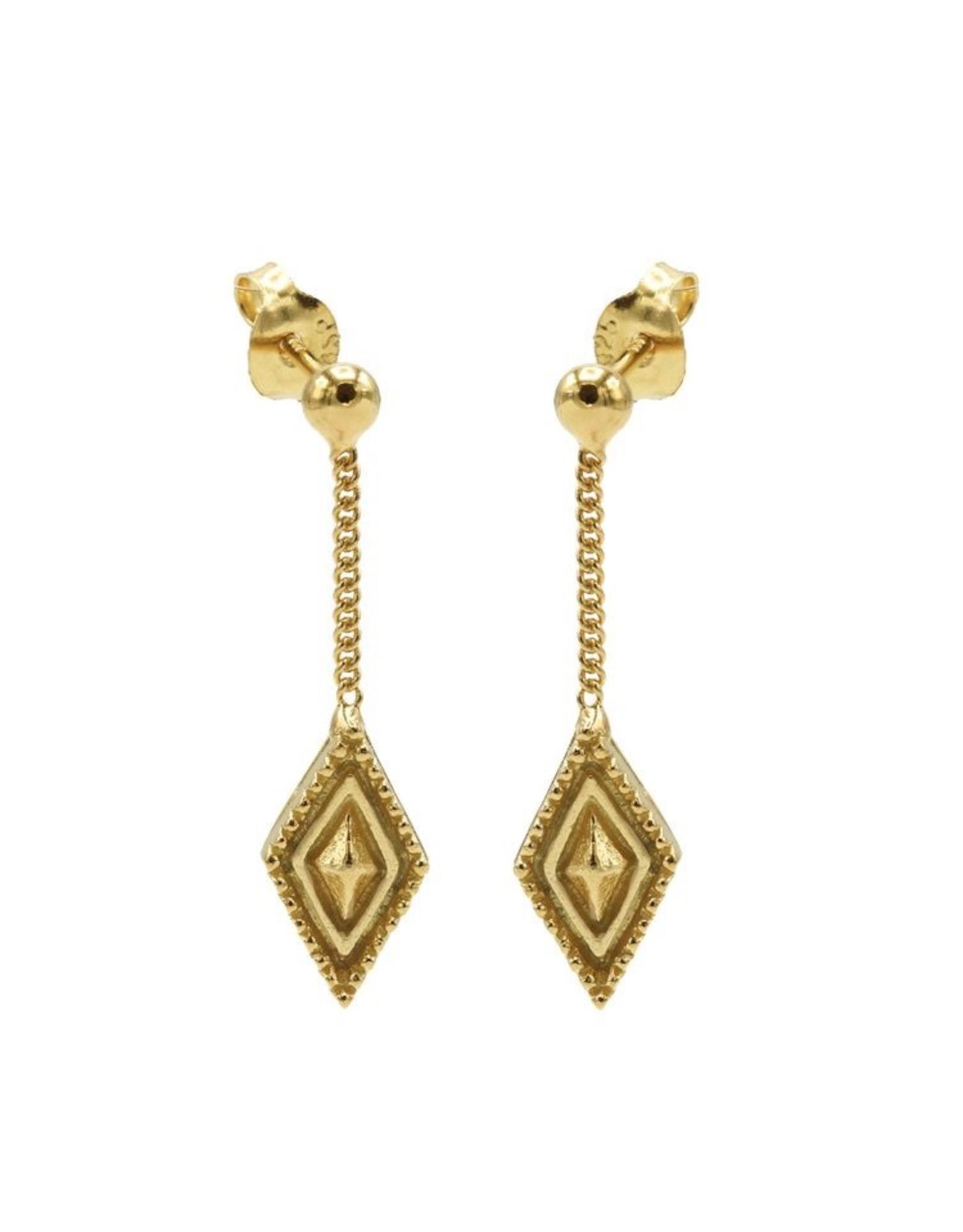 Karma Chainstuds Dots Line Diamond Goldplated Set