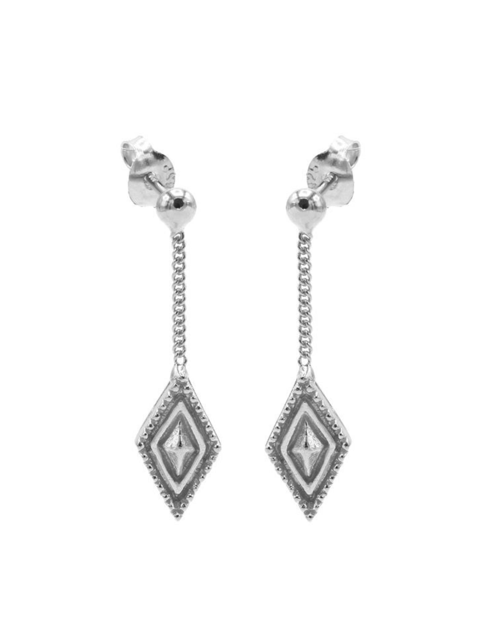 Karma Chainstuds Dots Line Diamond Silver Set