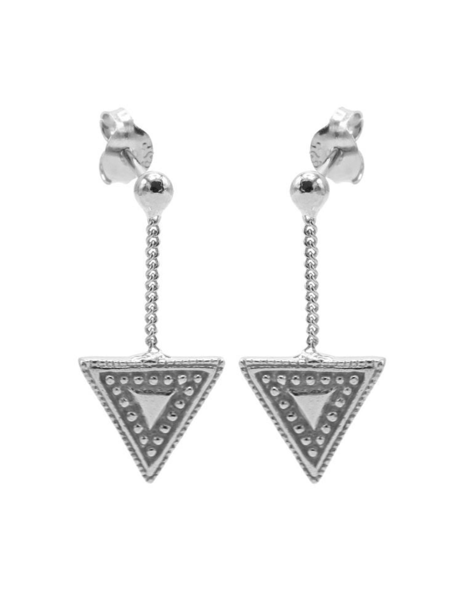 Karma Chainstuds Dots Line Triangle Silver Set