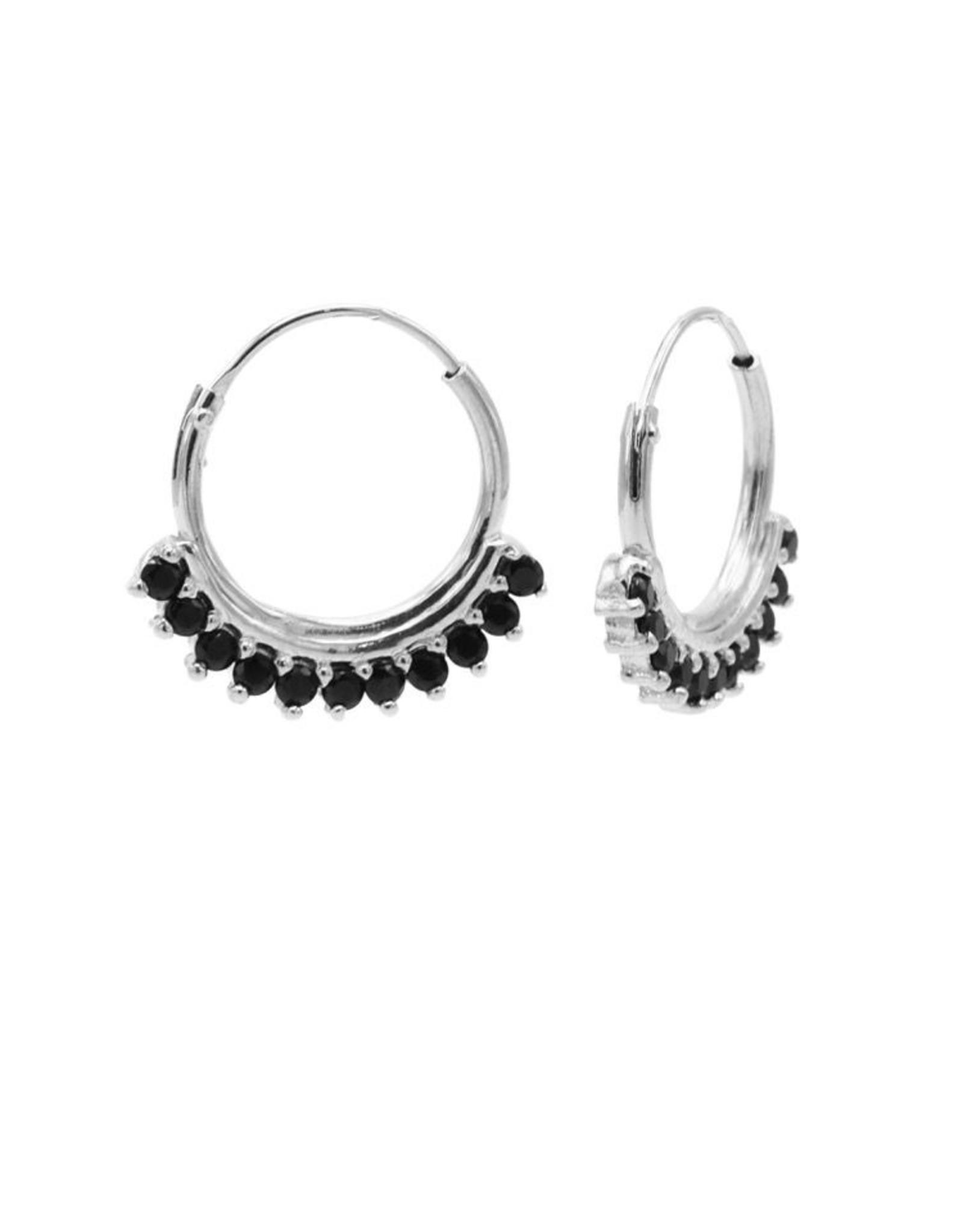 Karma Hoops Symbols Solid Black Zirconia Row Silver Set