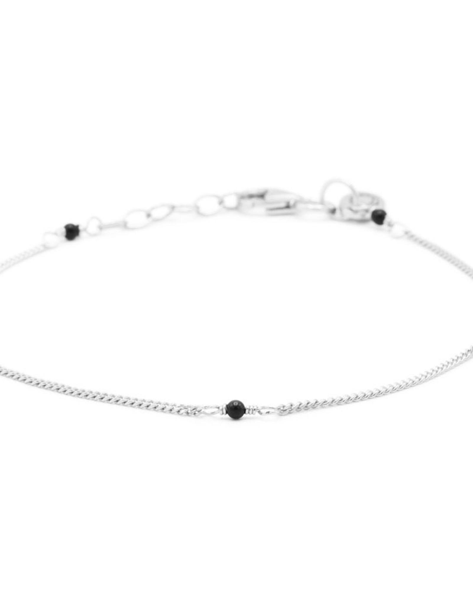 Karma Bracelet Tiny Onyx Silver