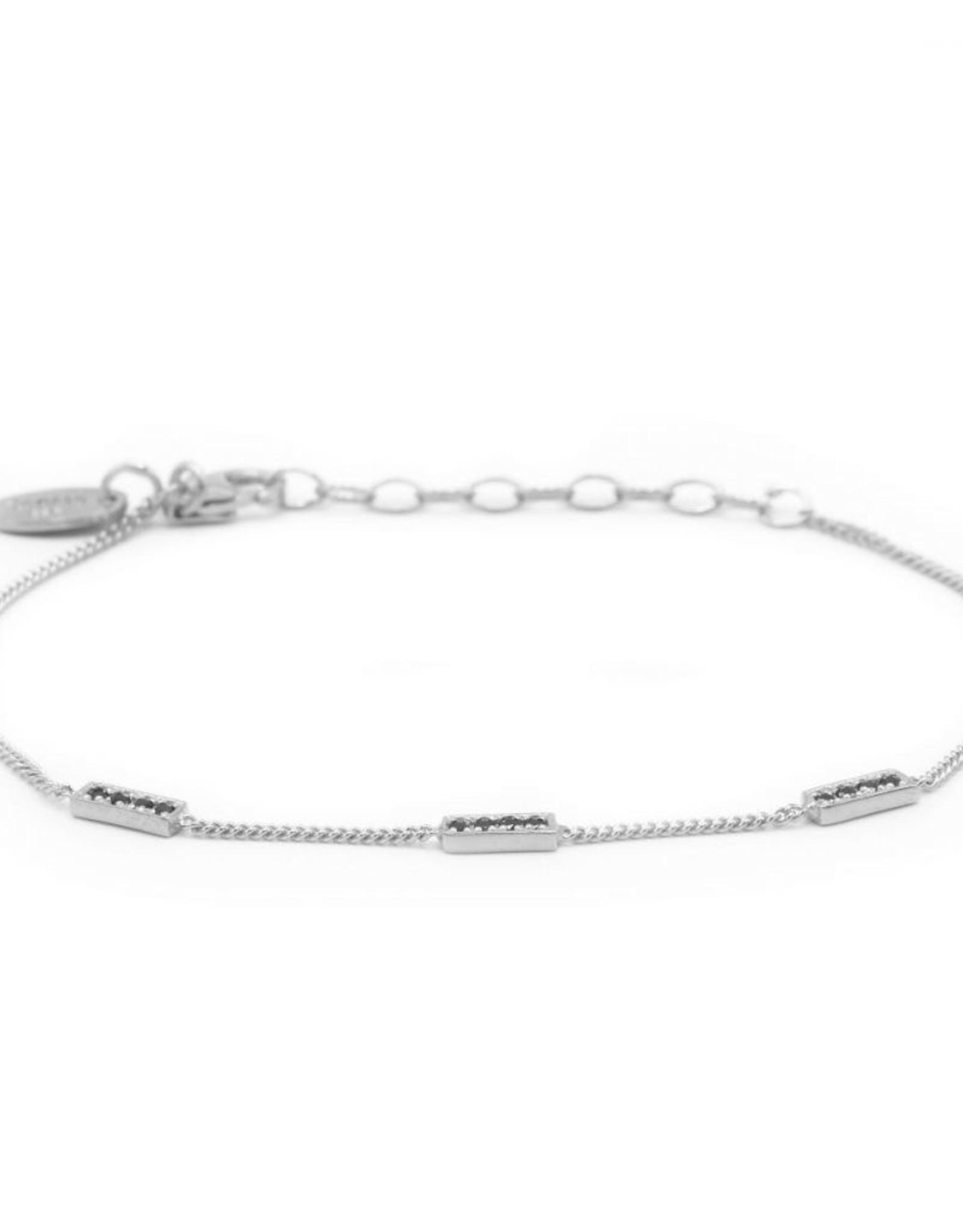 Karma Bracelet 3 Zirconia Rectangles Silver