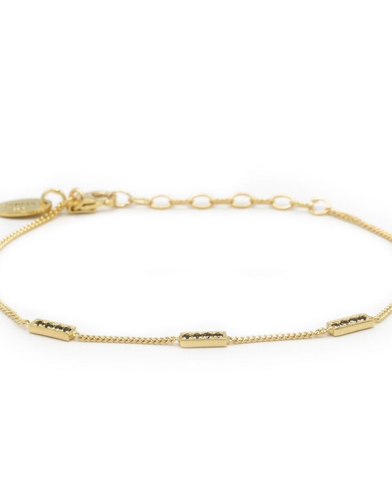 Karma Bracelet 3 Black Zirconia Rectangles Goldplated