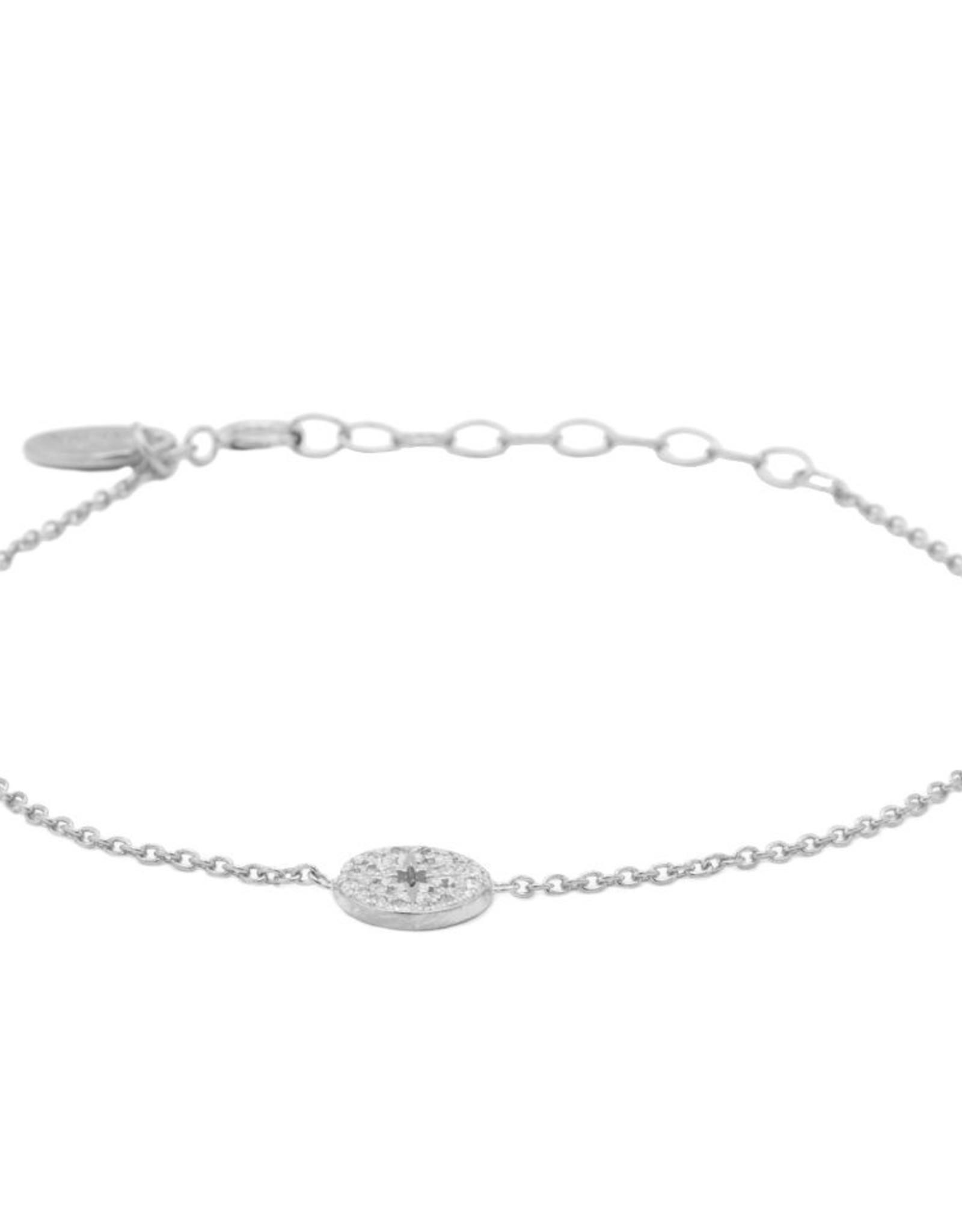 Karma Bracelet Zirconia Morningstar Disc Silver