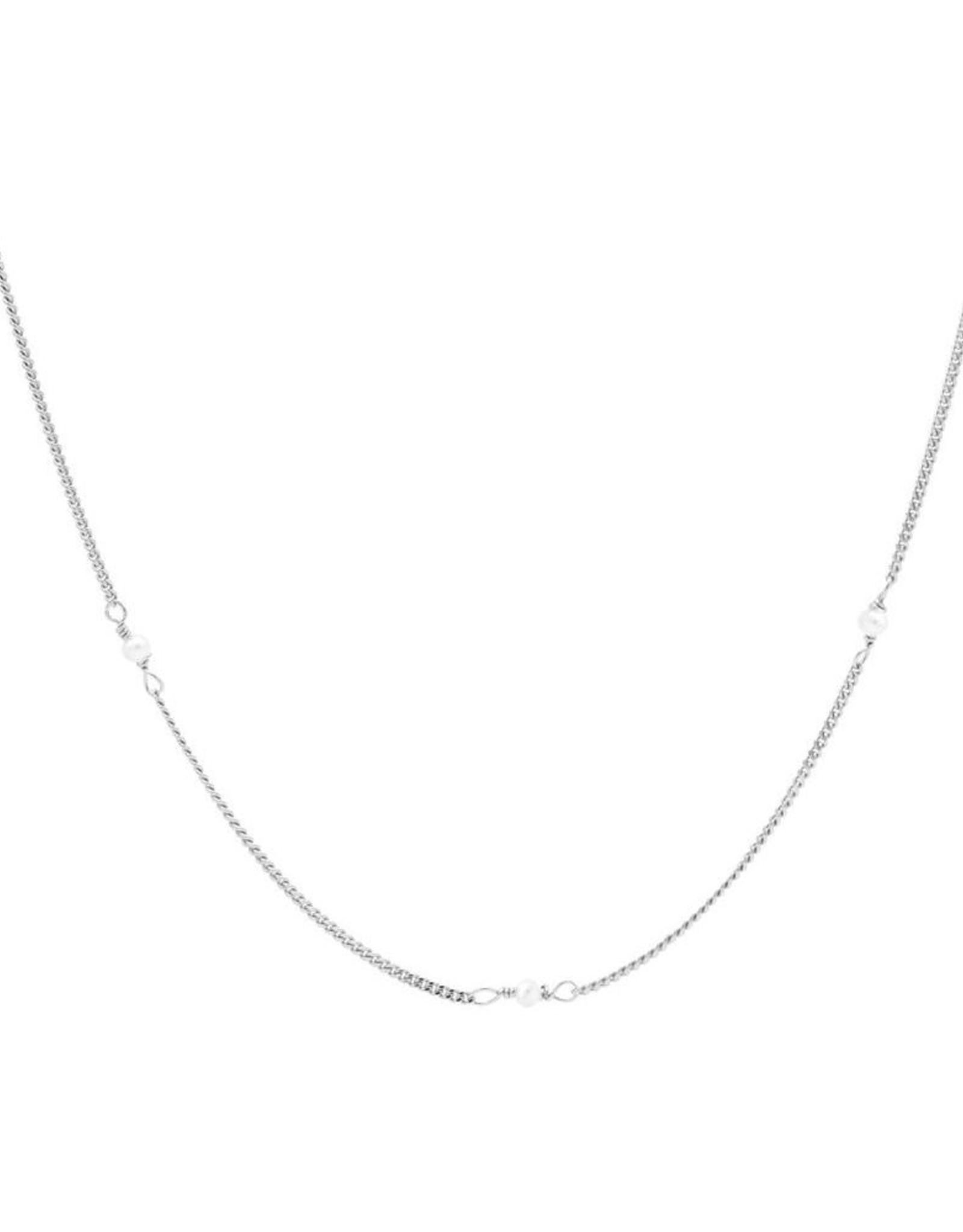 Karma Necklace Tiny Pearls Silver