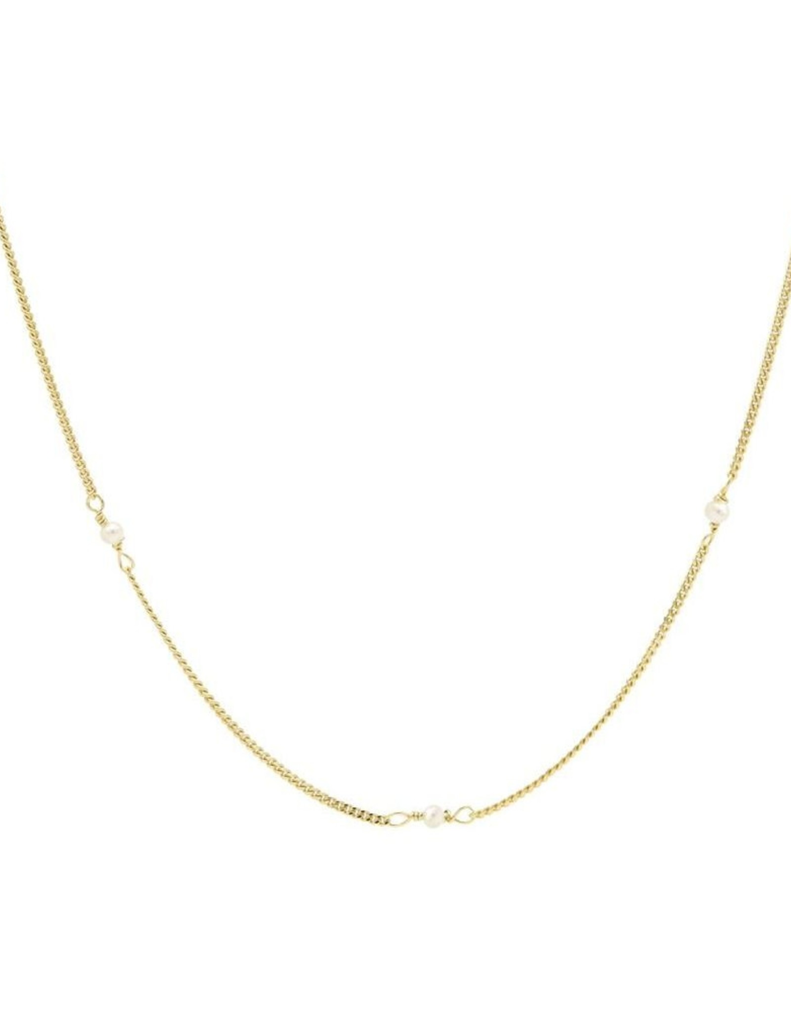 Karma Necklace Tiny Pearls Goldplated