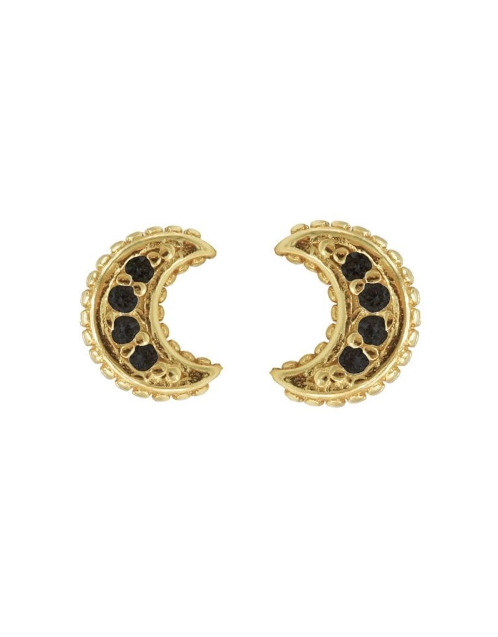 Karma Karma Black Zirconia Symbols Moon Goldplated Set