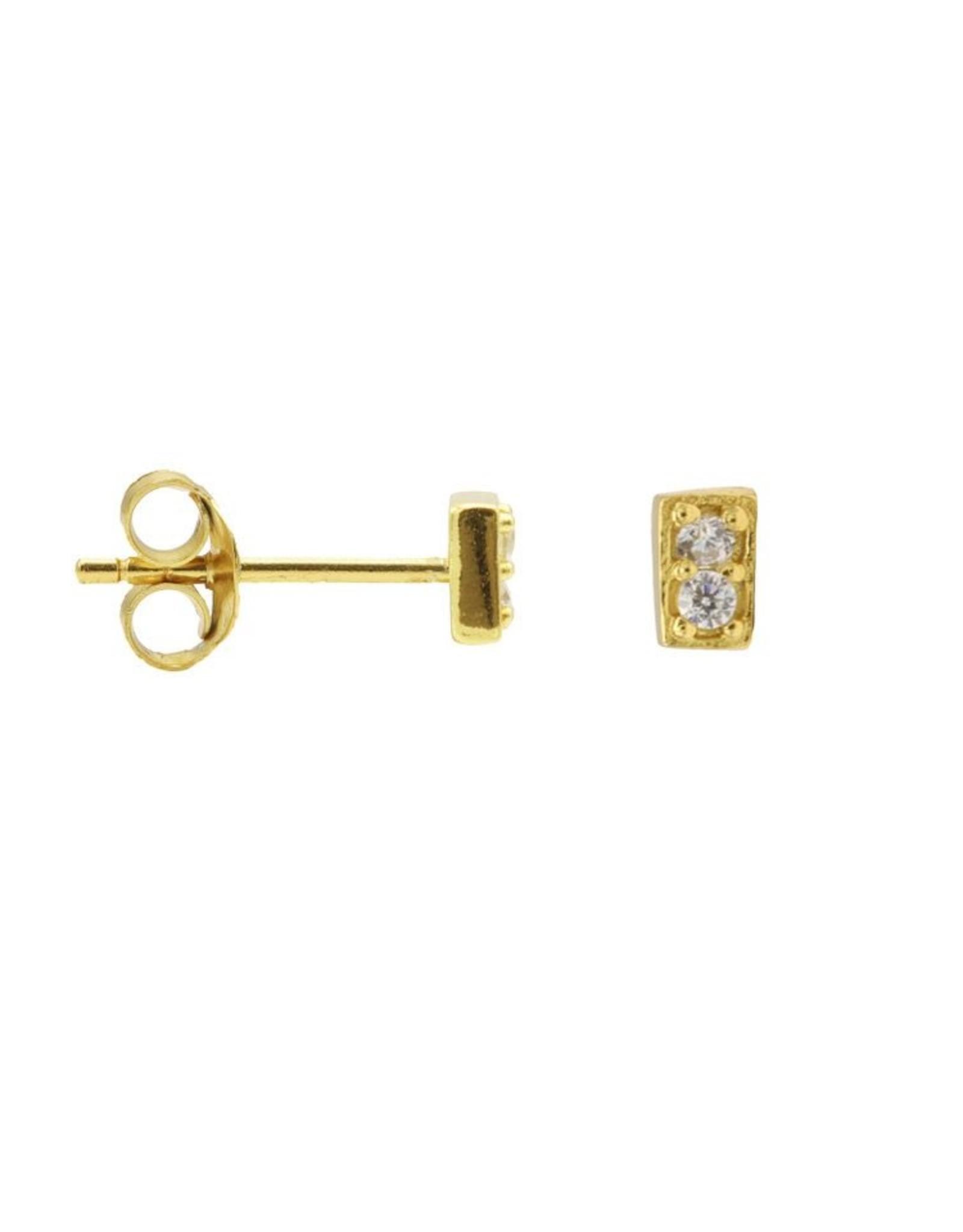 Karma Karma Zirconia Symbols Rectangle Goldplated Set