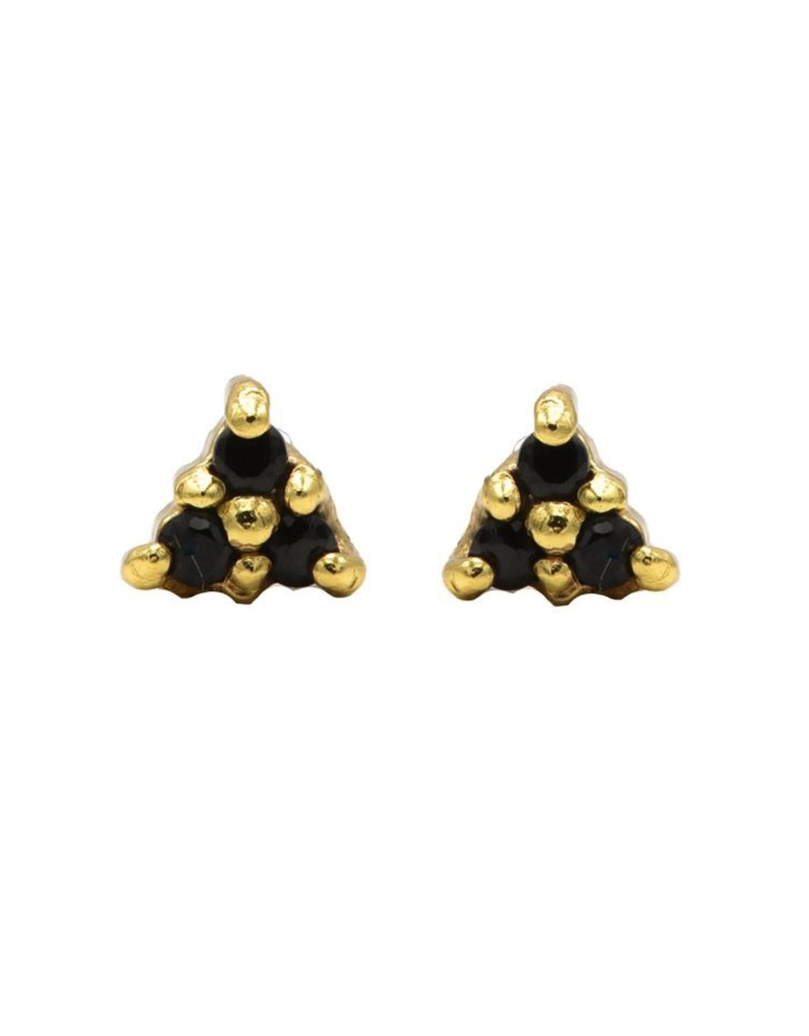Karma Karma Black Zirconia Symbols Triple Dots Goldplated