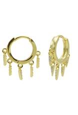 Karma Plain Hinged Hoops 5 Zirconia Cones Goldplated 14MM Set