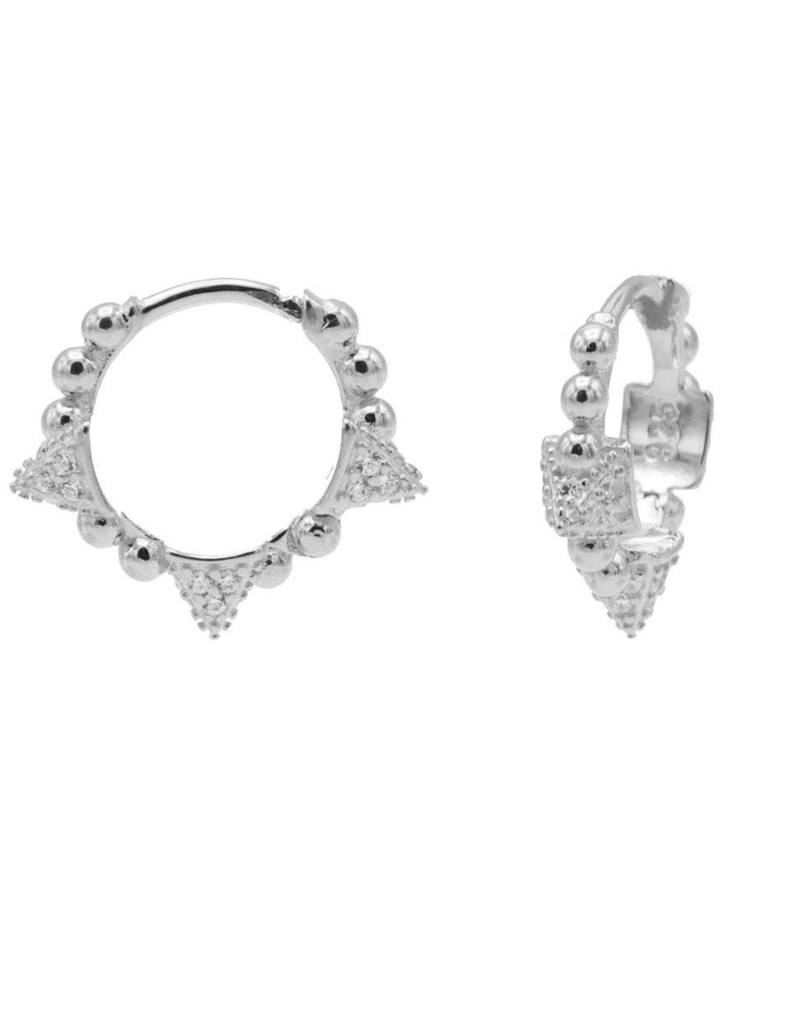 Karma Plain Zirconia Hinged Hoops Triple Studs 13MM Silver Set