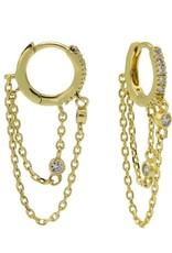 Karma Plain Zirconia Hinged Hoops Double Chain Goldplated Set