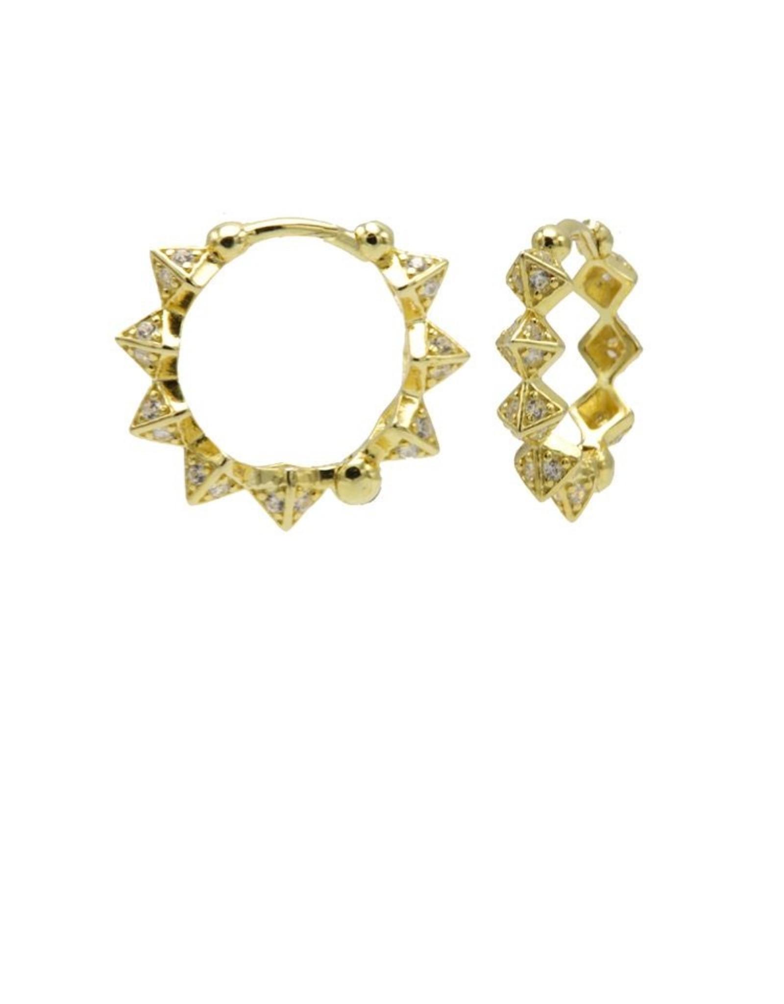 Karma Plain Hinged Hoops Diamond Spike Goldplated 15MM Set