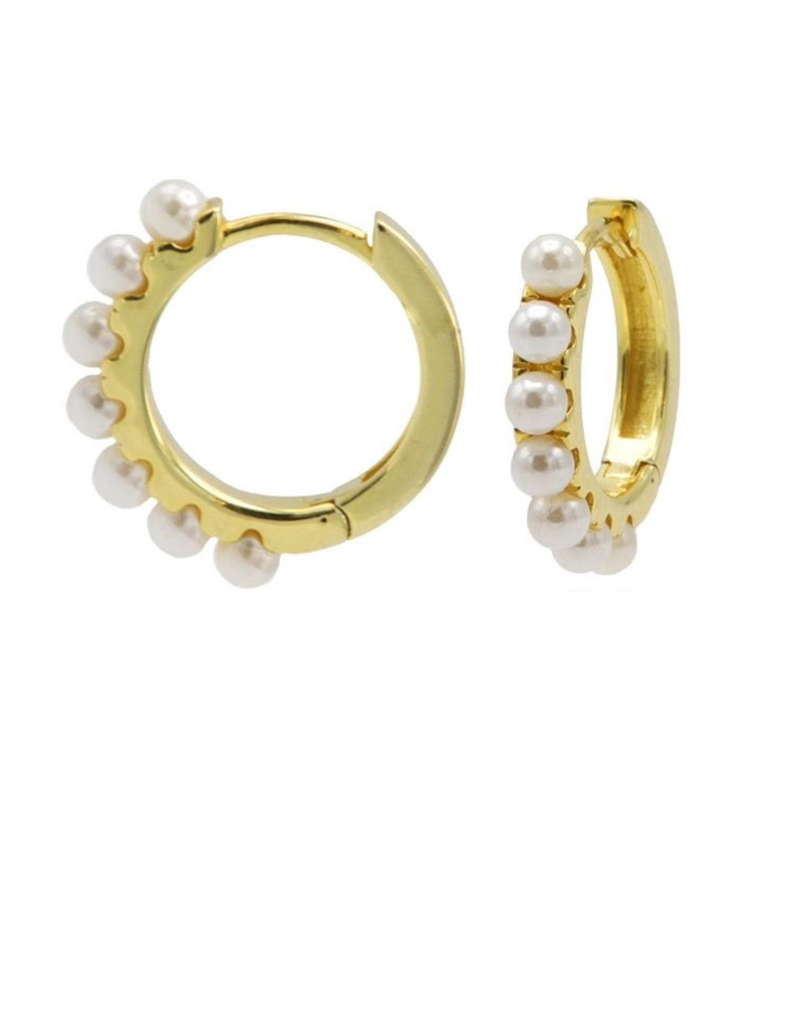 Karma Plain Hinged Hoops Pretty Pearls 13MM Goldplated Set