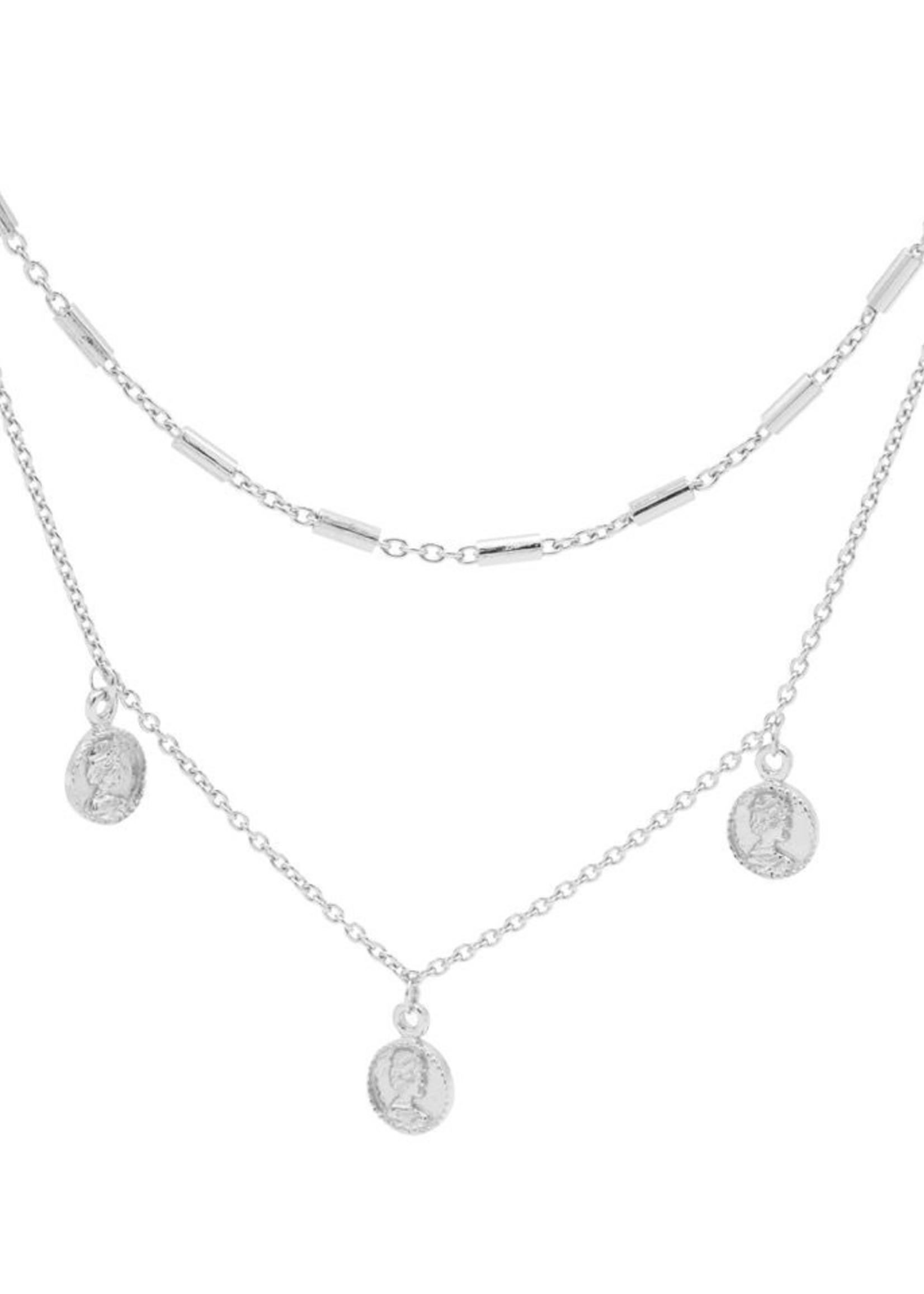 Karma Double Necklace Tubes Triple Coins Silver