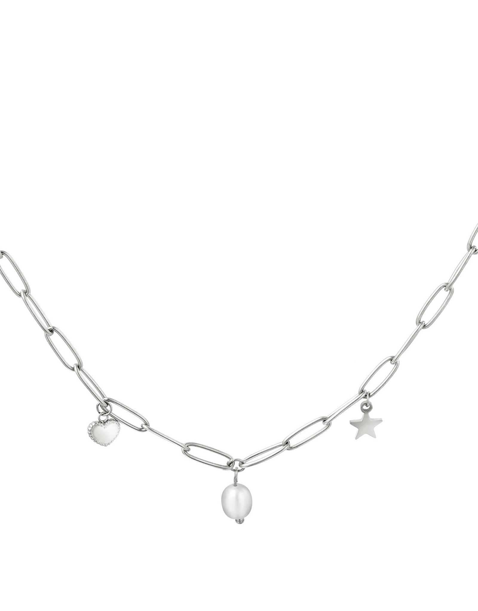 Link Necklace Heart,Pearl & Star Charm