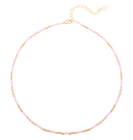 Necklace Mystic Beads Gold+Pink