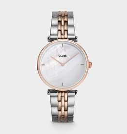 Cluse triomphe 5-link, rose gold, white pearl/silver/rose gold