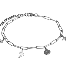 ankle with charms 23+4 silver