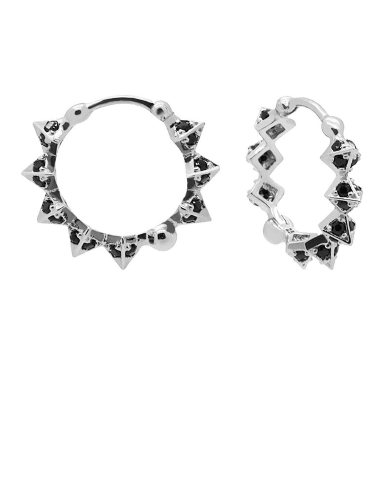 Karma Plain Hinged Hoops Black Diamond Spike Silver 15MM Set