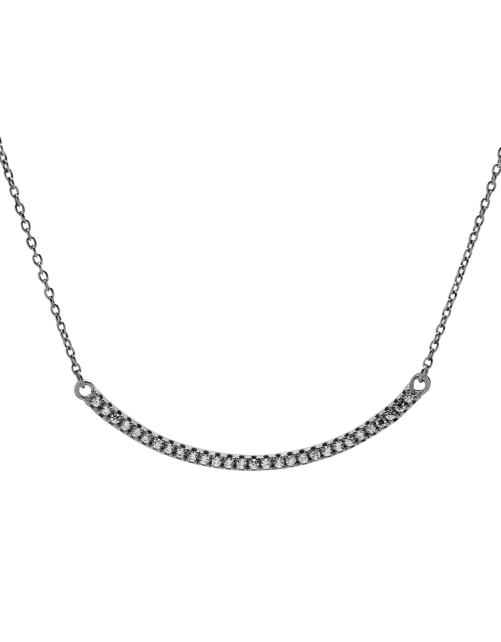 Karma Necklace Zirconia Bow Silver