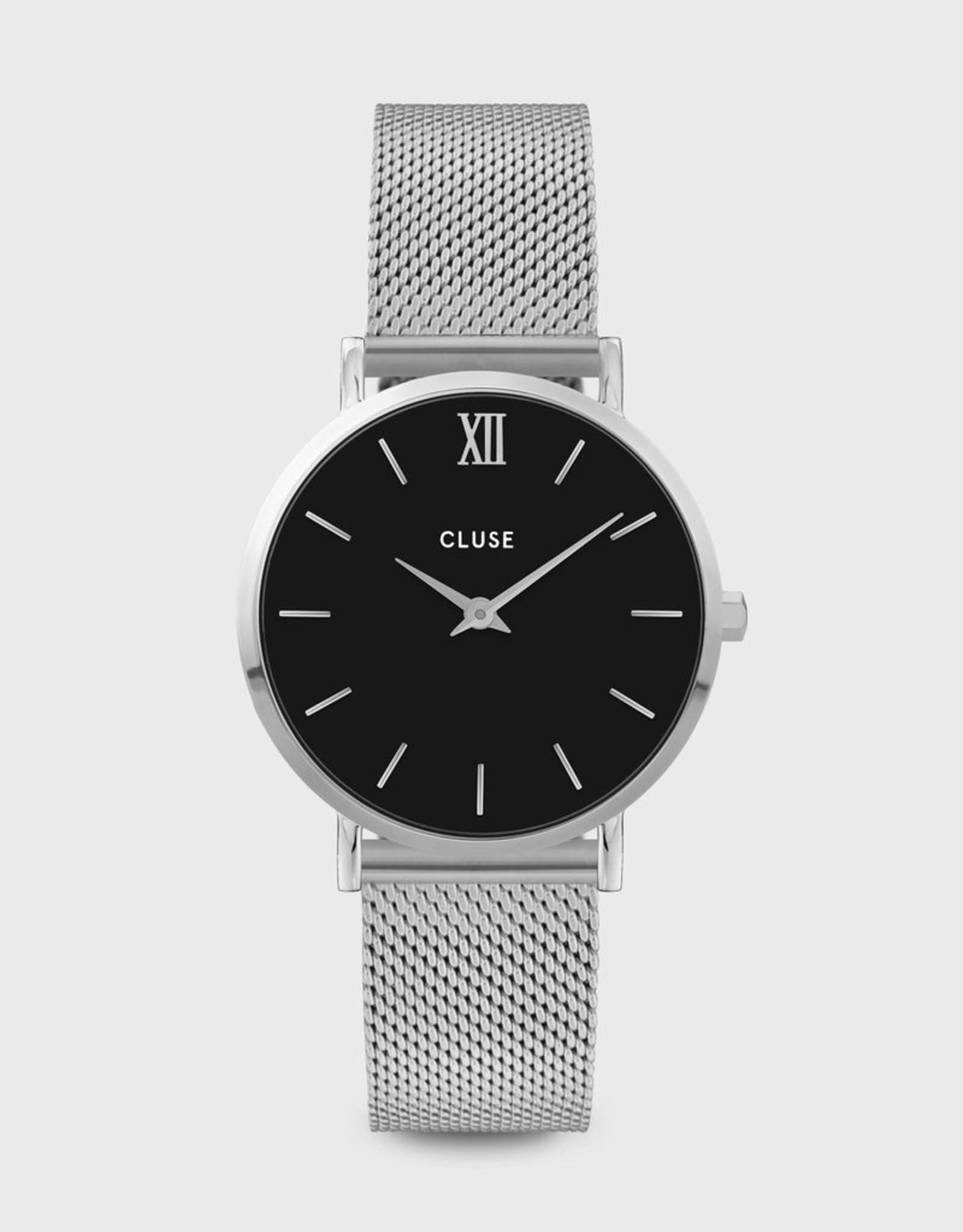 Cluse Minuit Mesh, Silver, Black/Silver