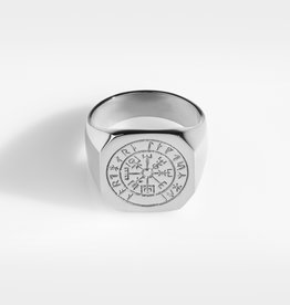Northern Legacy vegvisir oversize signature- silver tone ring maat 19