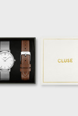 Cluse Giftbox Minuit Mesh Silver Colour & Brown Leather Strap
