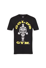 Gold's Gym Crew Neck T-shirt with Large Muscle Joe Print - Black