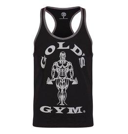 Gold's Gym Muscle Joe Contrast Stringer Vest - Black/Grey Marl