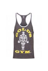 Gold's Gym Muscle Joe Contrast Stringer Vest - Grey Marl/White