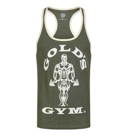Gold's Gym Muscle Joe Contrast Stringer Vest - Army/Cream