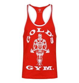 Gold's Gym Muscle Joe Contrast Stringer Vest - Red/White