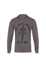 Gold's Gym Muscle Joe Long Sleeve Hooded T-shirt - Grey Marl